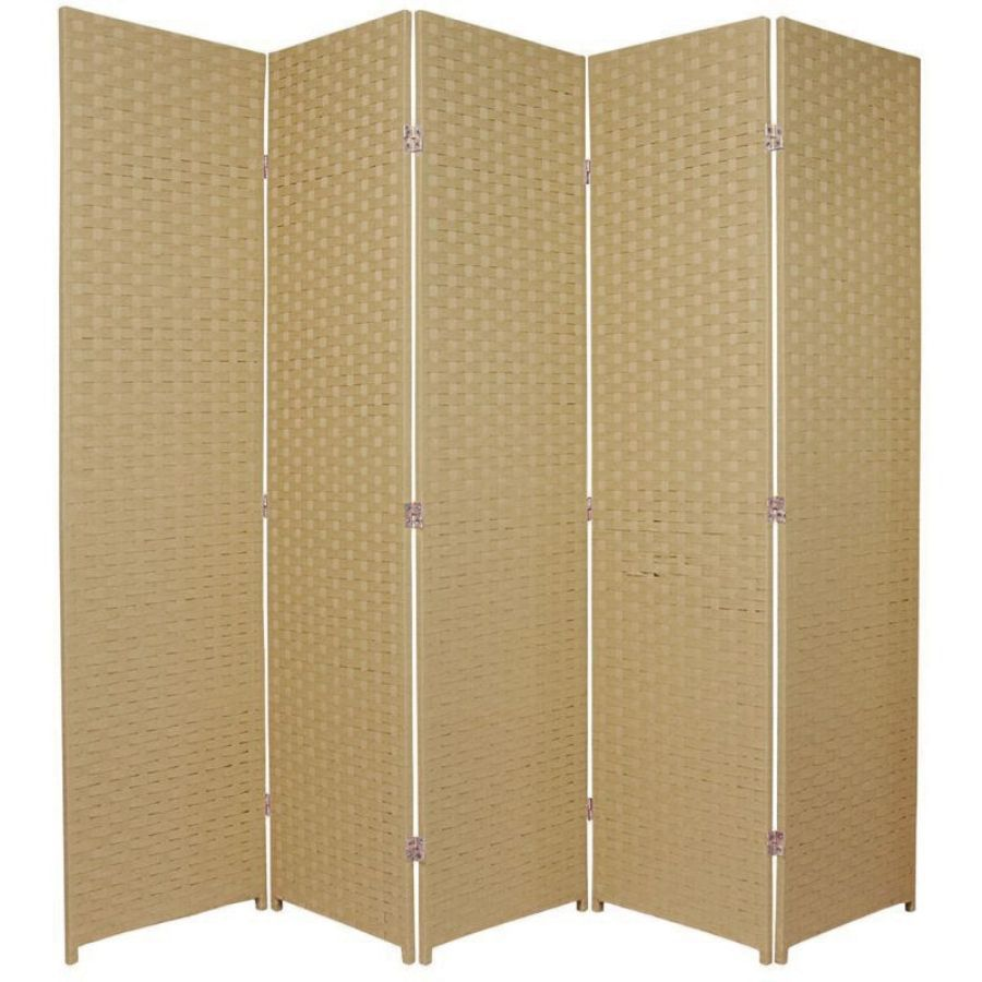 Woven Room Divider Screen Beige 5 Panel | Room Dividers & Screens | Home Storage & Living