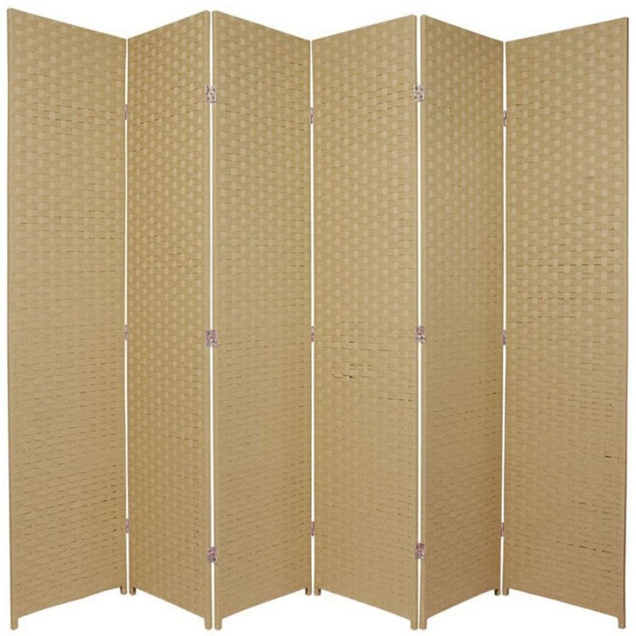 Woven Room Divider Screen Beige 6 Panel | Room Dividers & Screens | Home Storage & Living