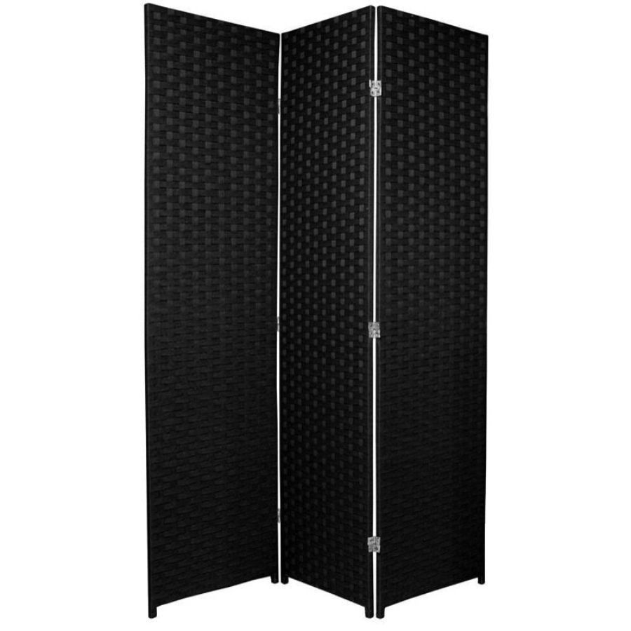 Woven Room Divider Screen Black 3 Panel | Room Dividers & Screens | Home Storage & Living