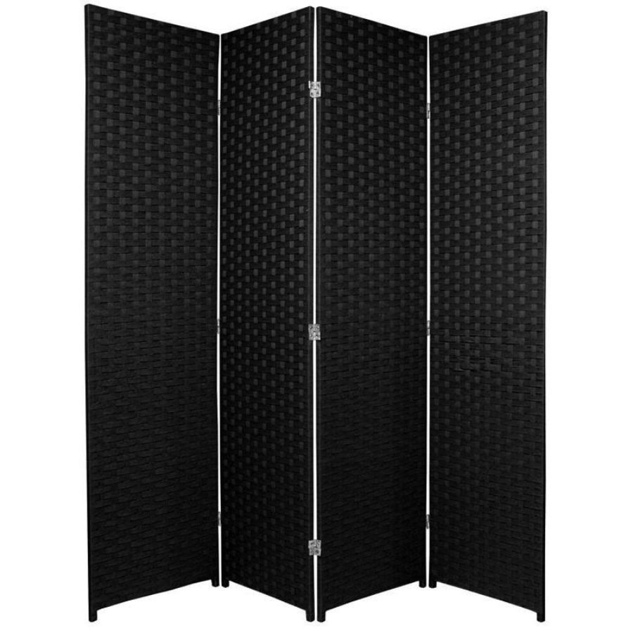 Woven Room Divider Screen Black 4 Panel | Room Dividers & Screens | Home Storage & Living