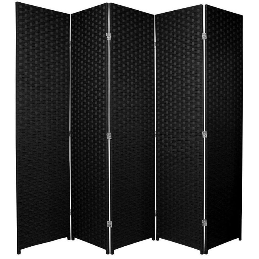 Woven Room Divider Screen Black 5 Panel | Room Dividers & Screens | Home Storage & Living