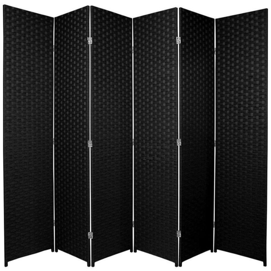 Woven Room Divider Screen Black 6 Panel | Room Dividers & Screens | Home Storage & Living