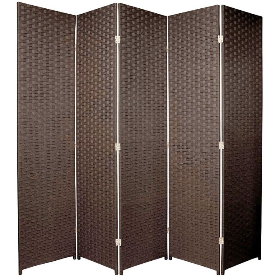 Woven Room Divider Screen Brown 5 Panel | Room Dividers & Screens | Home Storage & Living