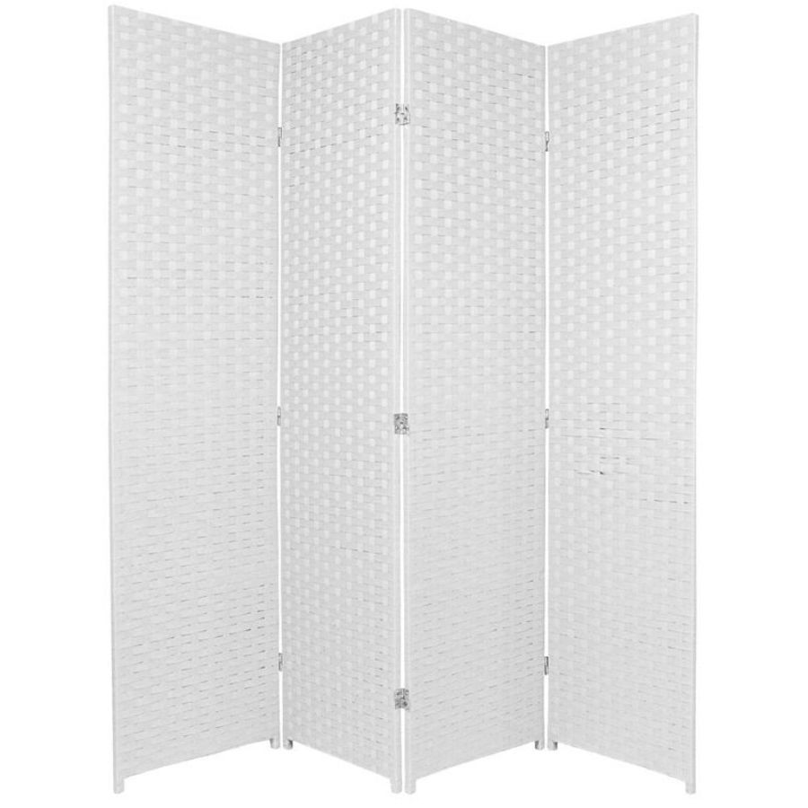 Woven Room Divider Screen White 4 Panel | Room Dividers & Screens | Home Storage & Living