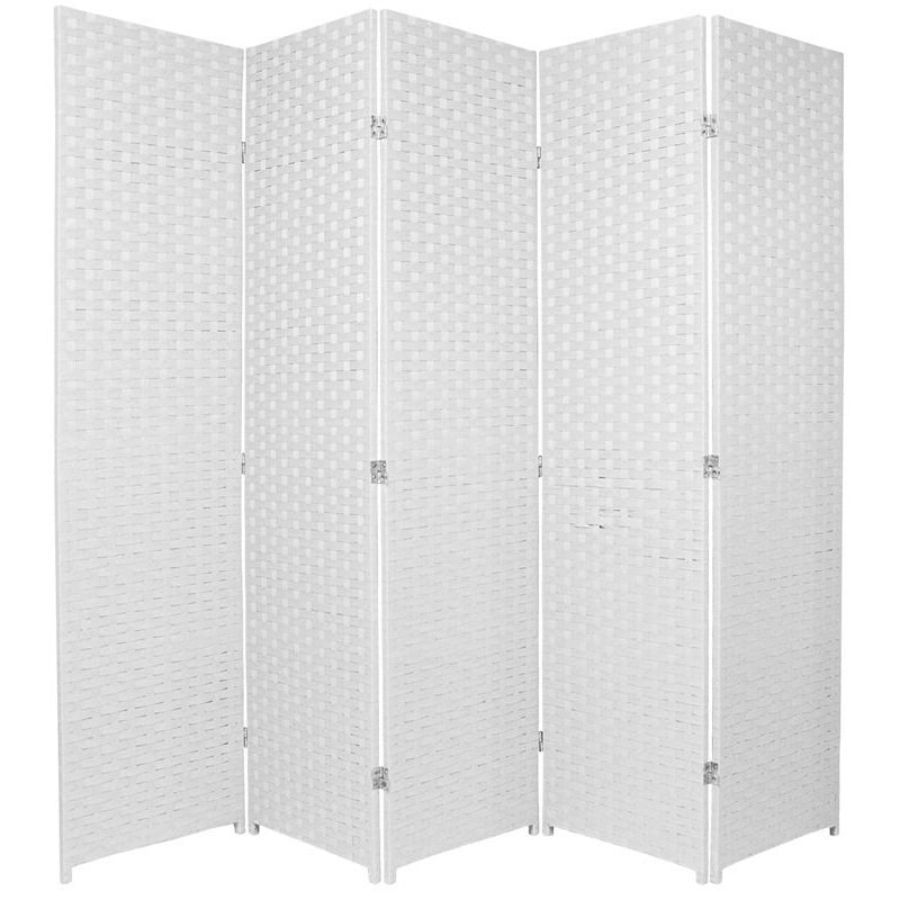 Woven Room Divider Screen White 5 Panel | Room Dividers & Screens | Home Storage & Living