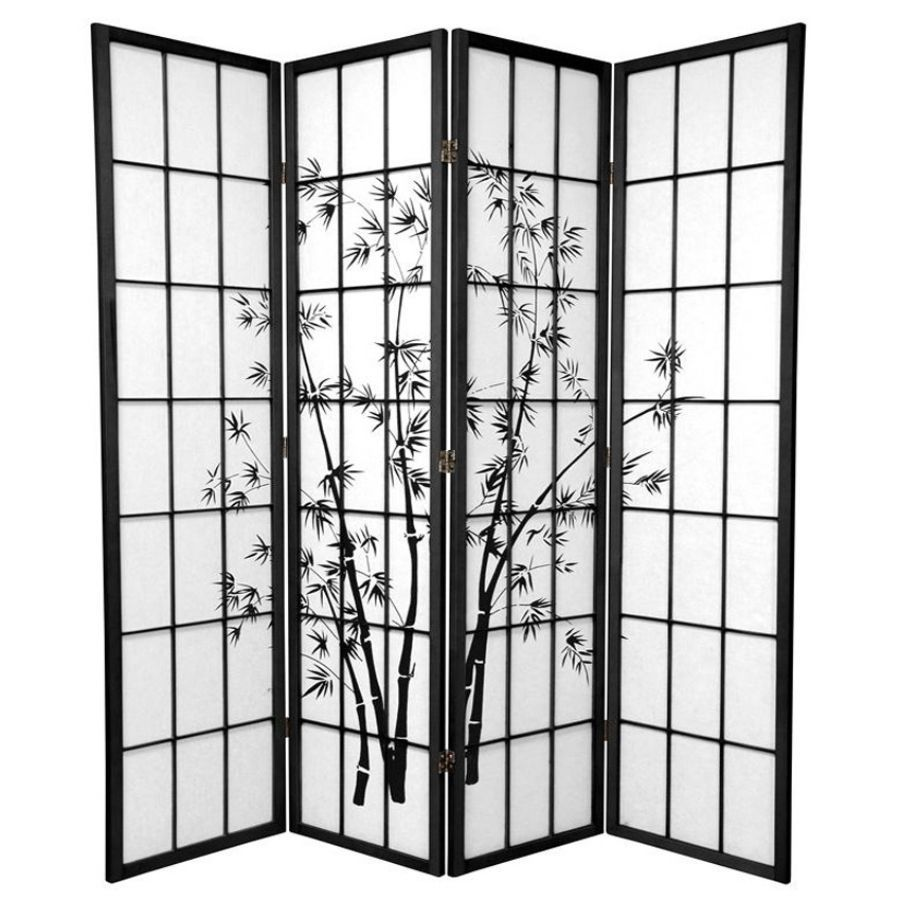 Zen Garden Room Divider Screen Black 4 Panel | Room Dividers & Screens | Home Storage & Living
