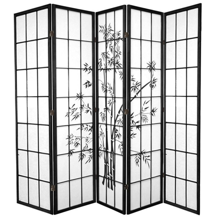 Zen Garden Room Divider Screen Black 5 Panel | Room Dividers & Screens | Home Storage & Living