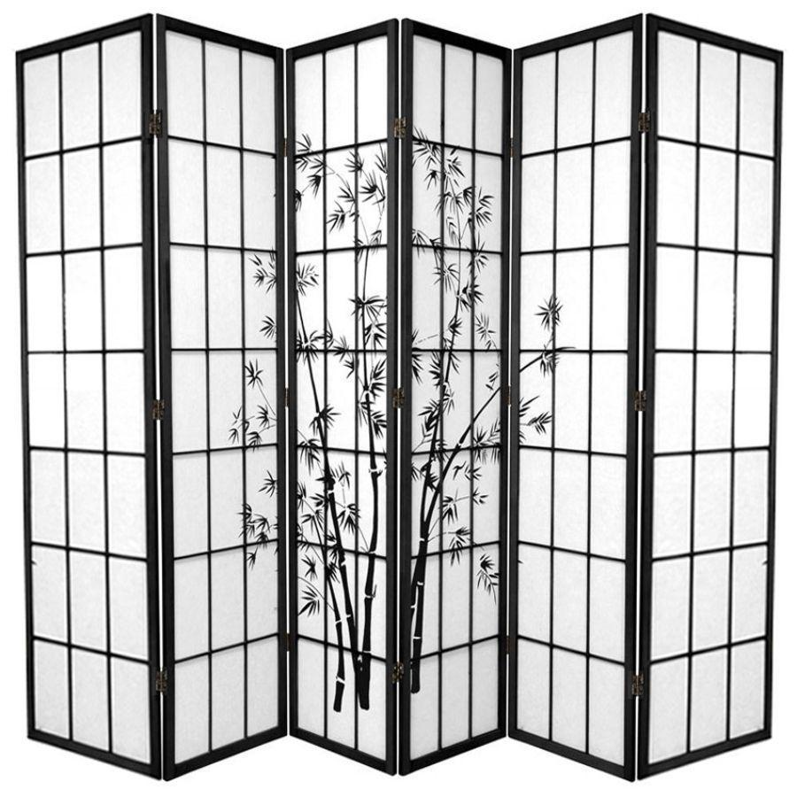 Zen Garden Room Divider Screen Black 6 Panel | Room Dividers & Screens | Home Storage & Living