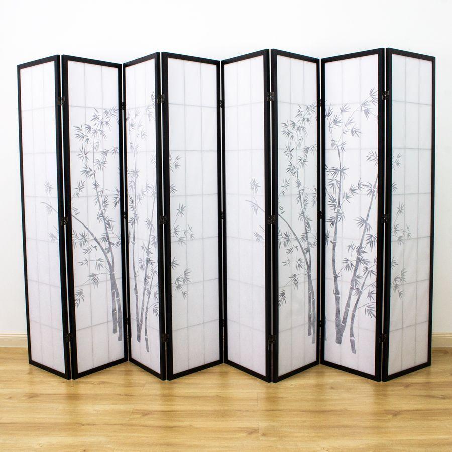 Zen Garden Room Divider Screen Black 8 Panel | Room Dividers & Screens | Home Storage & Living