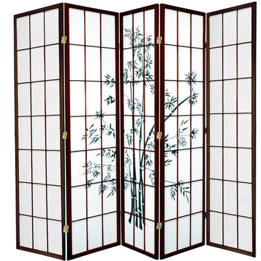 Zen Garden Room Divider Screen Brown 5 Panel | Room Dividers & Screens | Home Storage & Living
