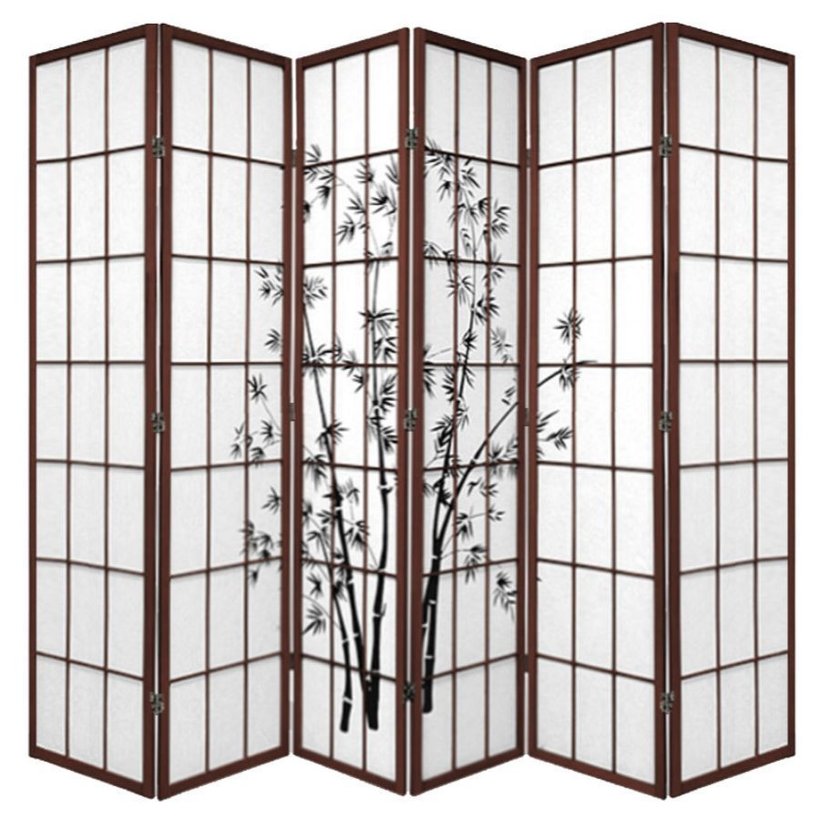 Zen Garden Room Divider Screen Brown 6 Panel | Room Dividers & Screens | Home Storage & Living