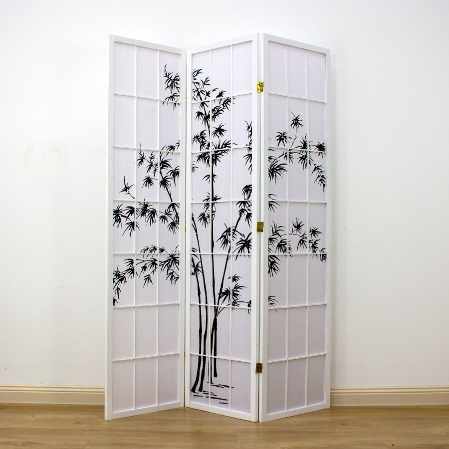 Zen Garden Room Divider Screen White 3 Panel | Room Dividers & Screens | Home Storage & Living