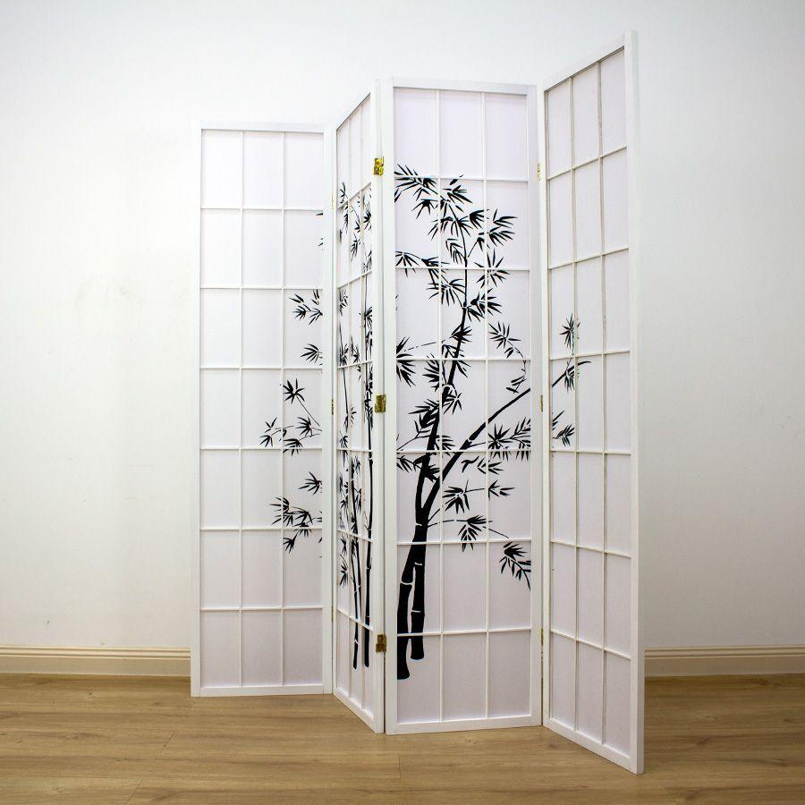 Zen Garden Room Divider Screen White 4 Panel | Room Dividers & Screens | Home Storage & Living
