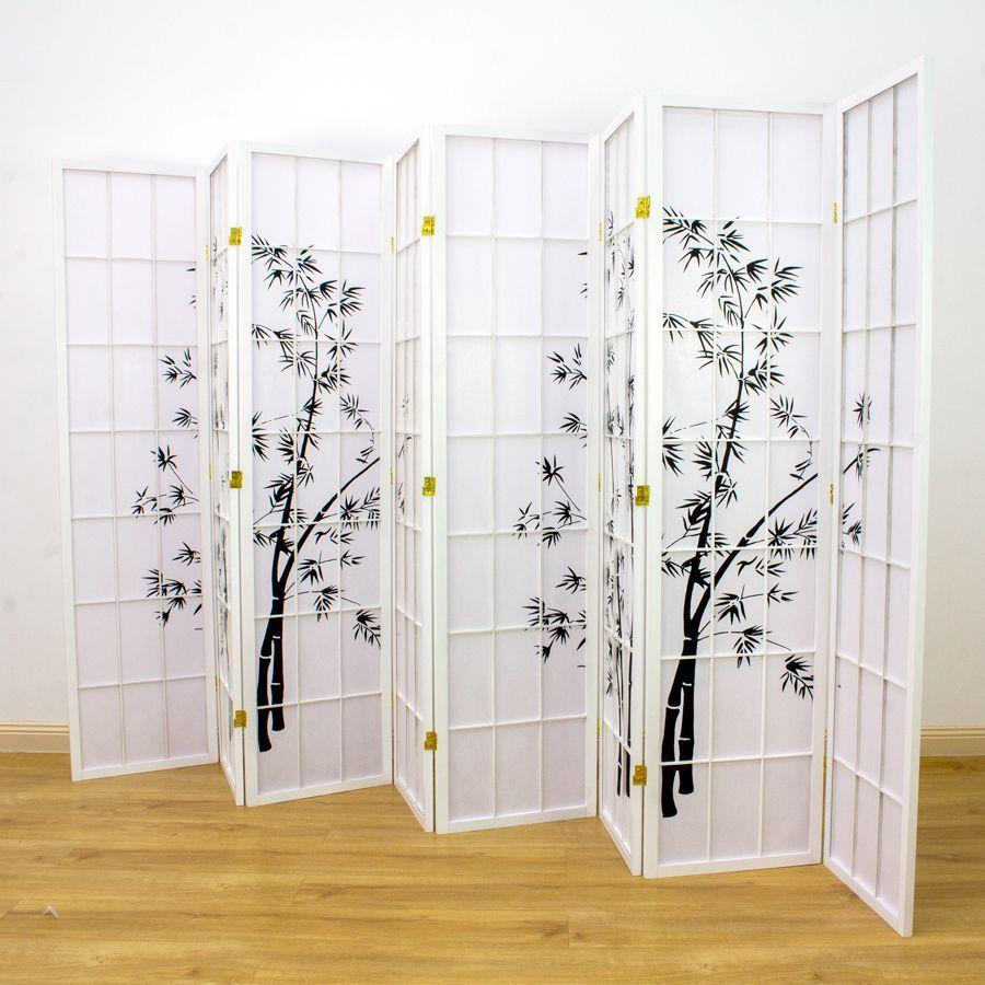 Zen Garden Room Divider Screen White 8 Panel | Room Dividers & Screens | Home Storage & Living