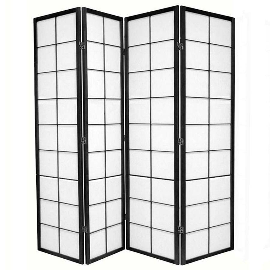Zen Room Divider Screen Black 4 Panel | Room Dividers & Screens | Home Storage & Living