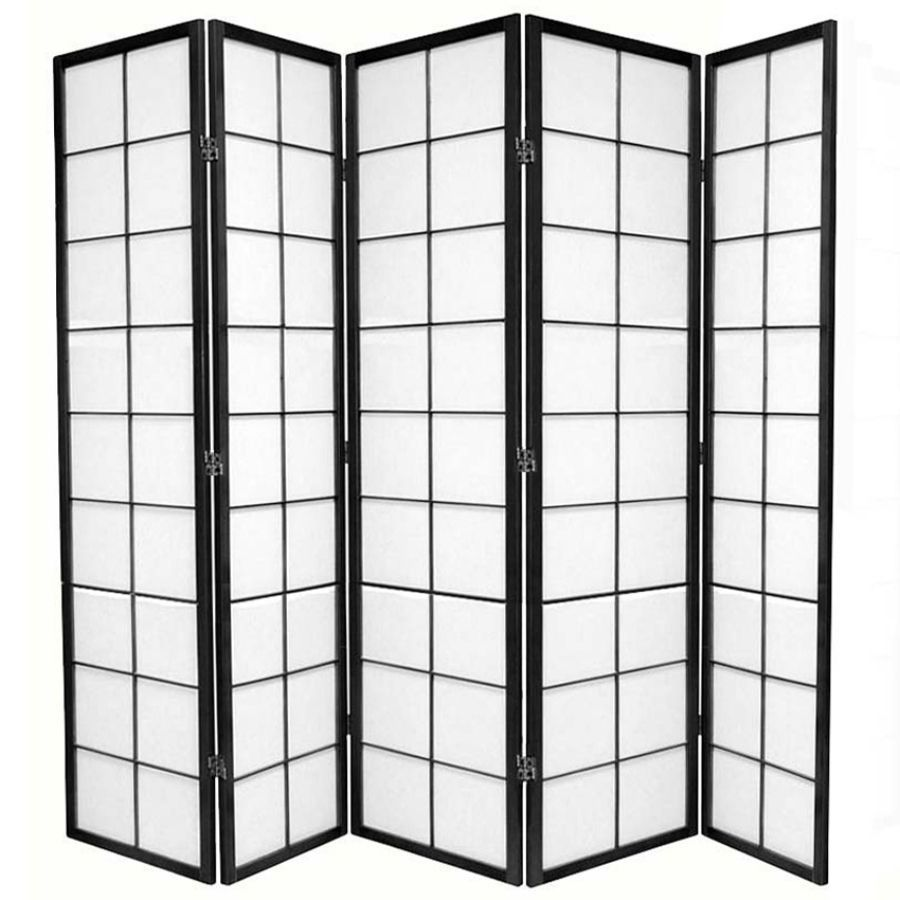 Zen Room Divider Screen Black 5 Panel | Room Dividers & Screens | Home Storage & Living