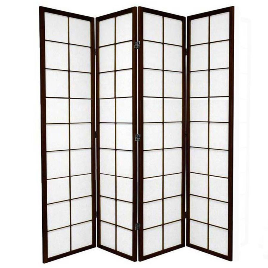 Zen Room Divider Screen Brown 4 Panel | Room Dividers & Screens | Home Storage & Living