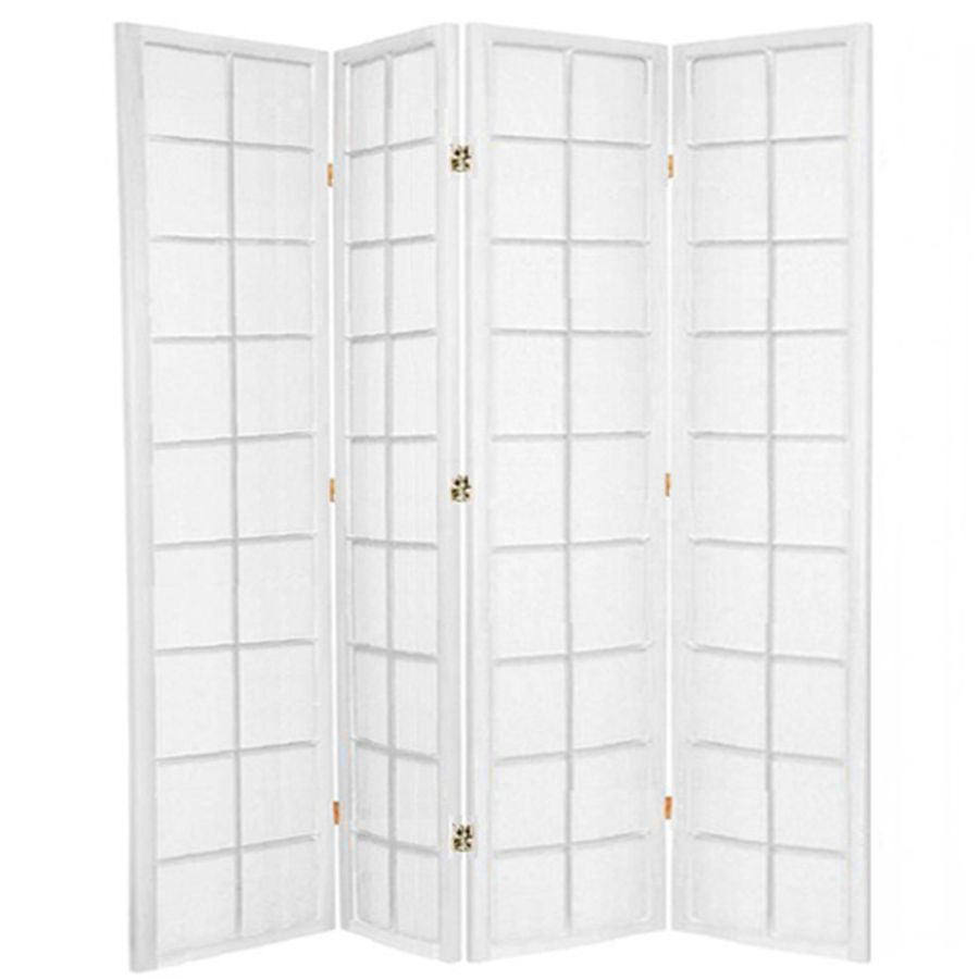 Zen Room Divider Screen White 4 Panel | Room Dividers & Screens | Home Storage & Living